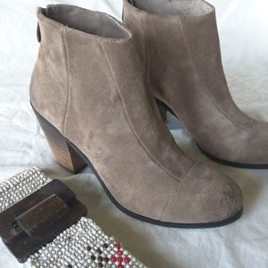 Vince Camuto Brown Suede Chunky Heel Booties